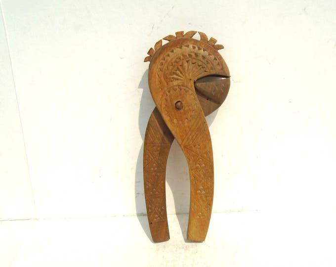 Vintage Wooden Nut Cracker, Carved Nutcracker, Handmade Kitchen Utensil, Rustic Nutcracker