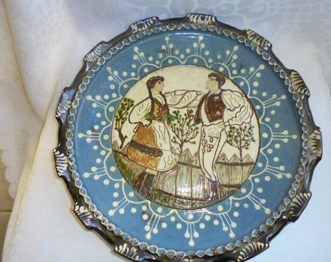 Antique Plate, Folk Plate, Blue Plate