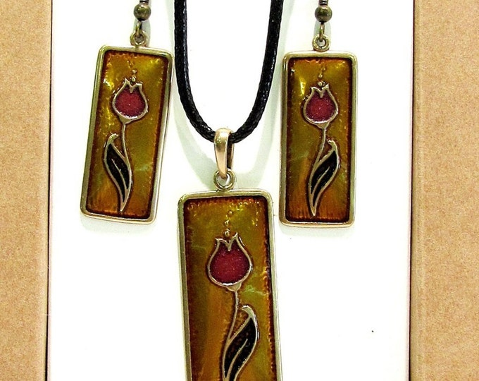 Enameled Necklace and Earring, Cloisonne Necklace, Cloisonne Medal, Folk Medal, Cloisonne Jewelry, Enamel Jewelry