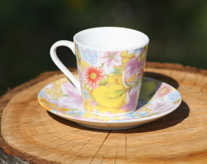 Royal England Tea Cup, Tea Cup, Flower Tea Cup, Colored Tea Cup, Flower Coffee Cup, Decorative Cup and Plate