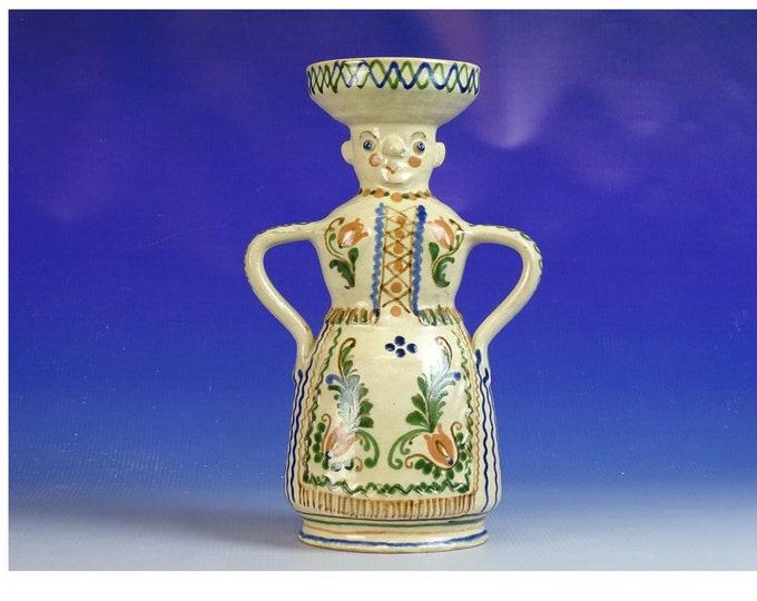 Figural Vase, Vintage Vase, Hungarian Pottery, Folk Ceramic, Statue Vase