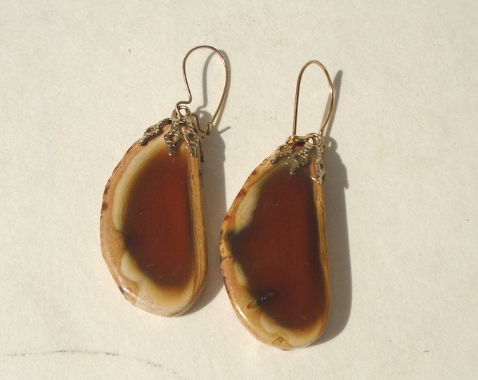 Mineral Earring,Brown Mineral, Mineral Jewelry