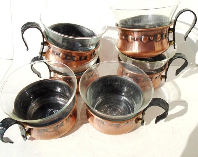 Jena Glass, Schott & Mainz Jena Glass, German Jena Tea Glass, Vintage Glas, 6 pieces Glass, Brass Jena Glass