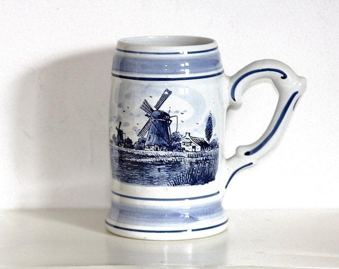 Delft Mug, Holland Mug, Windmill Scene, Delft Blue, Stoneware Mug, Blue Flower Mug, 1 Liter Mug, Nederland Pottery, Holland Stoneware