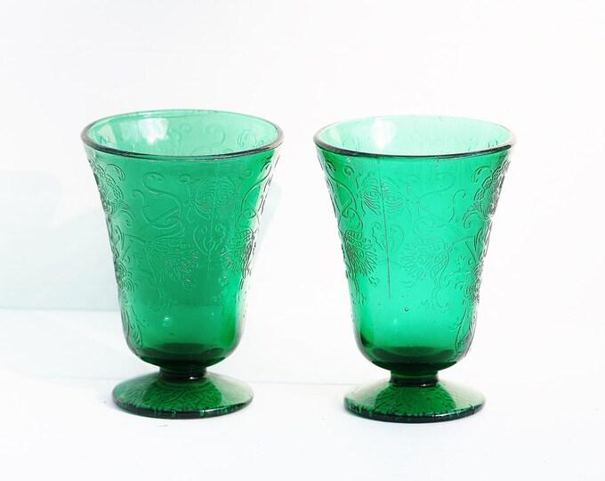 Emerald green embossed glasses.