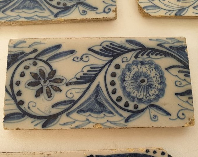 Antique Tiles, Blue and White, Dutch Tile, Delft Tile, 13 pieces