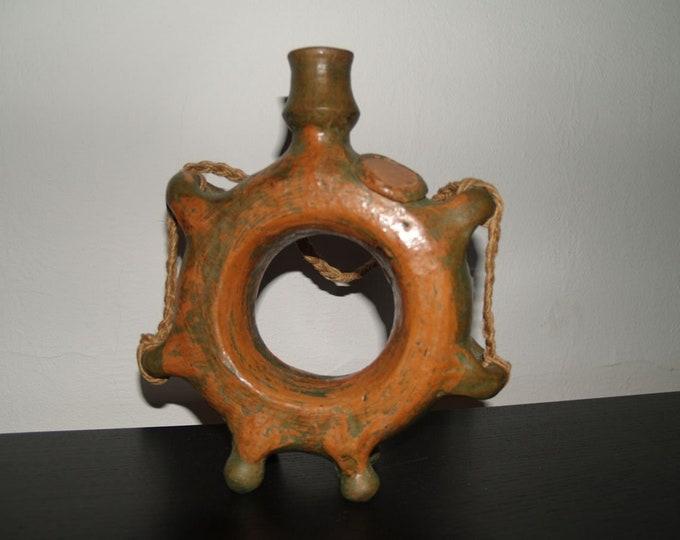 Ceramic Flask, Pretzel Bottle, Folk Vase, Folk Ceramic Flask, Clay Pitcher, Handpainted Vase