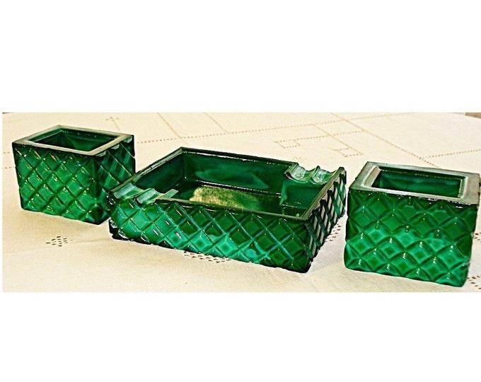 Malachite Cigarette Set, Malachite Ashtray, Art Deco Malachite