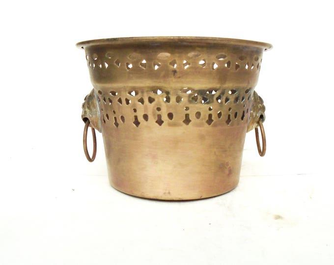 Brass Bowl, Brass Flower Pot, Lion Handle Pot, Hammered Brass Bowl, Brass Bowl, Brass Bowl with handle