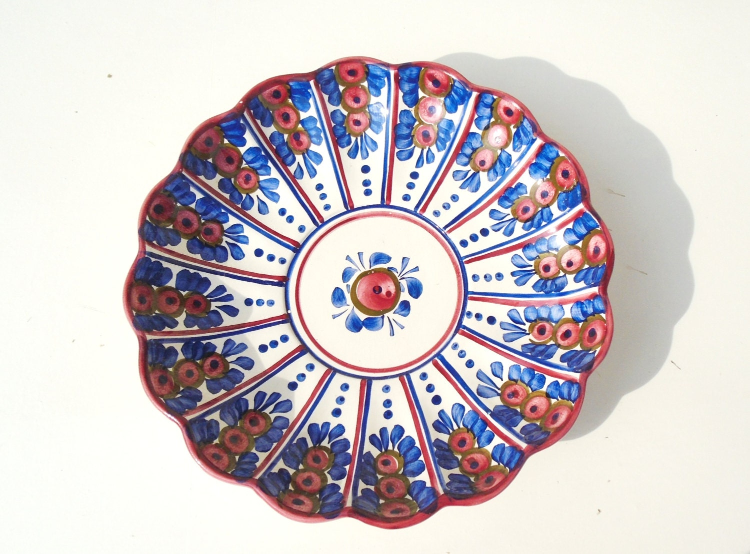 Wall Plate Handpainted Wall Plate Fruit Bowl Folk Plate Red Plate