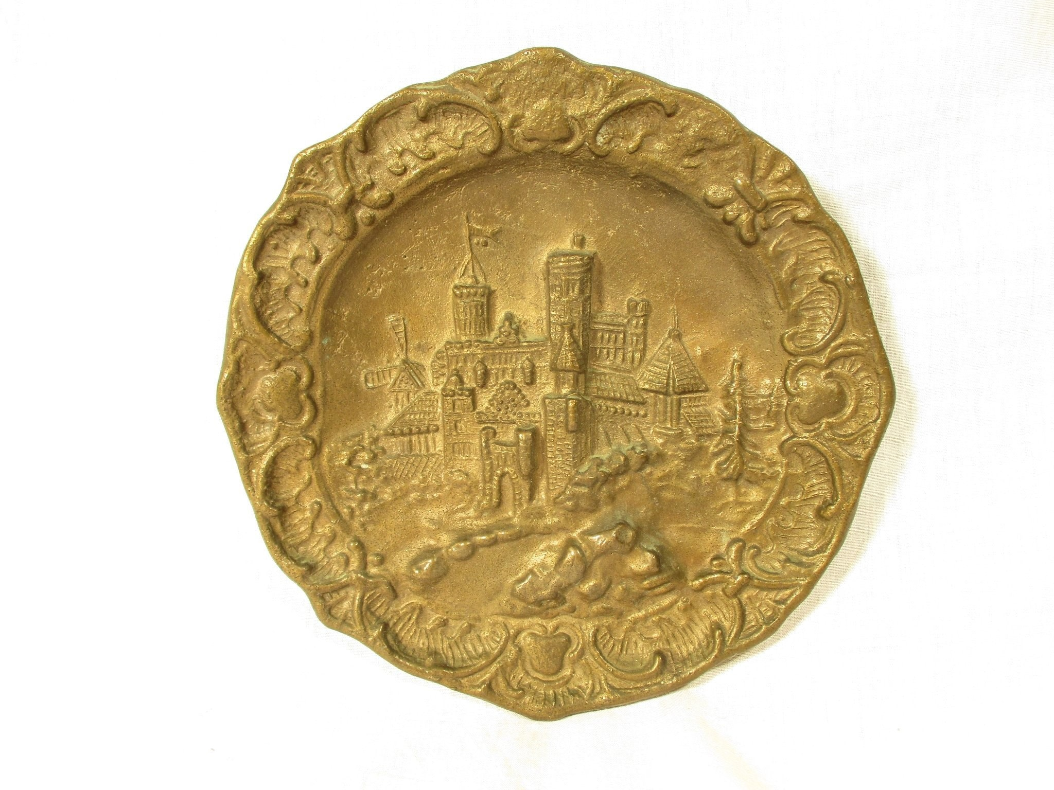 Solid Brass Plate Vintage Wall Plaque Rustic Bronze Wall Decor Folk Scene Wall Plate