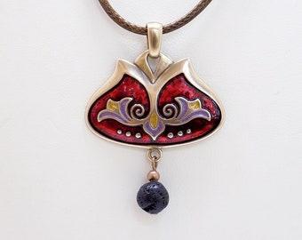 Enameled Necklace, Cloisonne Necklace, Cloisonne Medal, Folk Medal, Cloisonne Jewelry, Enamel Jewelry