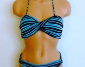 Bandeau set, Turquoise Twisted bikini set, Bikini set, Swimsuit set, Spandex swimsuit set, bandeau, 2 piece Padded Swimsuit set.