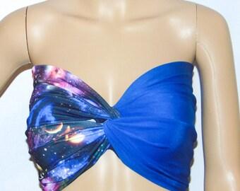 Galaxy and blue Twisted bikini top, Bandeau, Swimsuit top, Spandex bandeau, Spandex swimsuit top, bandeau top, Active wear.