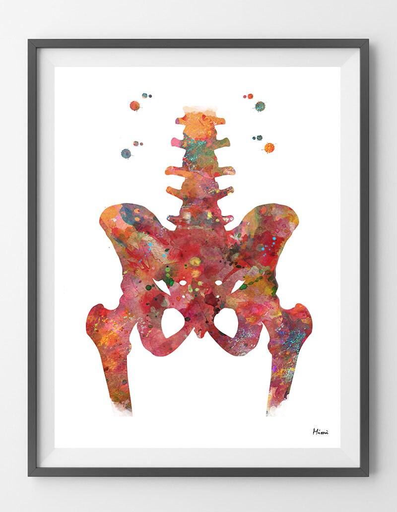 Hip Aquarell Druck Anatomie Kunst der Hüfte und unteren Rücken   Etsy