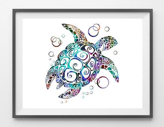 Sealife Art Schildkröte Druck blau Schildkröte Aquarell Poster