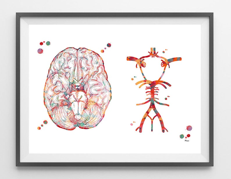 bfbe10a6c631a Brain Synapses watercolor print neurology art by MimiPrints t