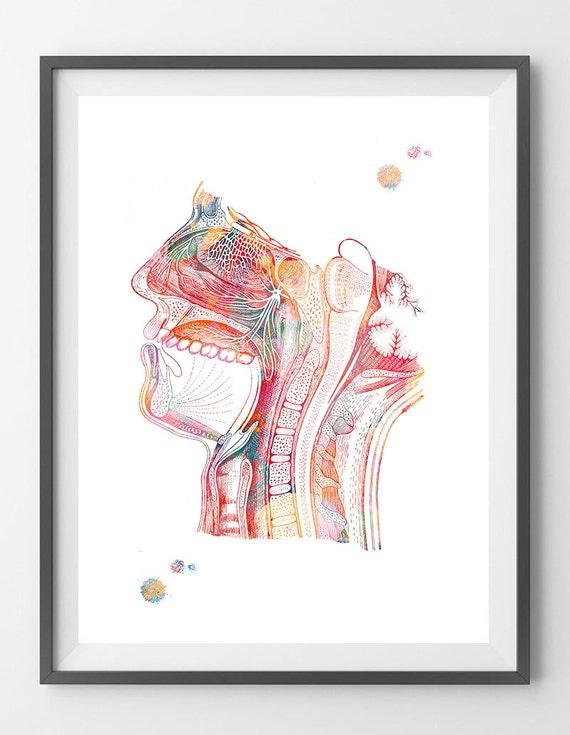 Atemwege Aquarell Druck Nase-Mund-Rachen-Kehlkopf Anatomie
