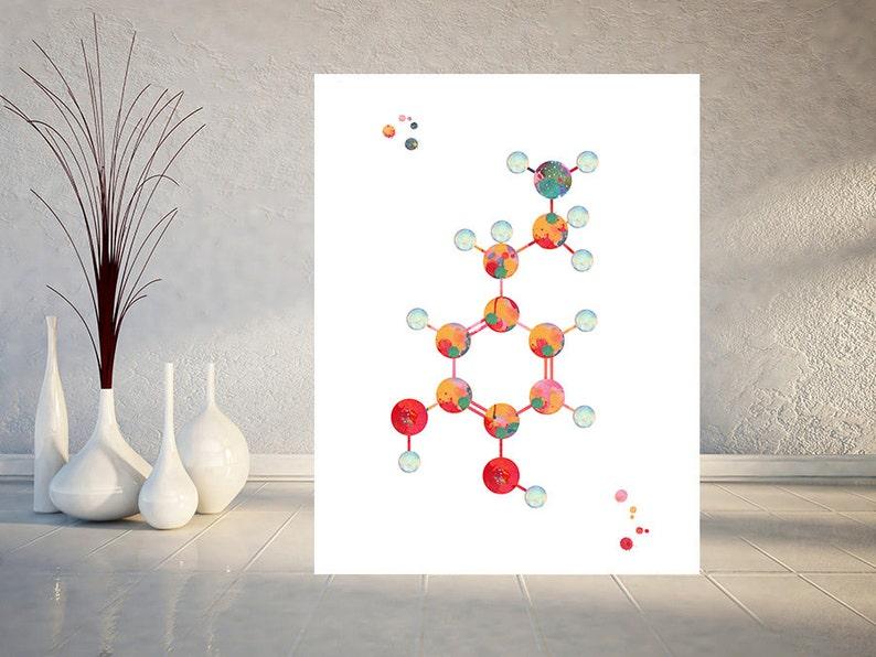 Dopamine Molecule watercolor print dopamine formula poster science Art dopamine chemical structure medical art biology art wall decor 917