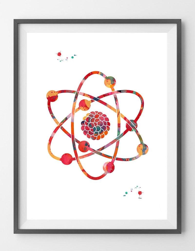 Atom Aquarell Druck Wissenschaft Kunst Poster nuklearen Modell