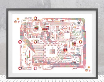 Circuit board science art watercolor computer science art electronics motherboard with chips poster