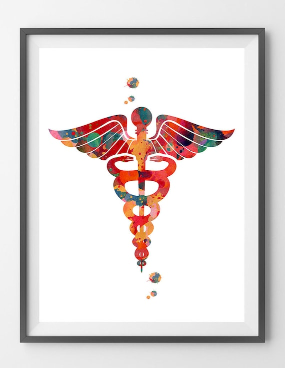 Medicine Symbol Caduceus Watercolor Print Caduceus Poster Etsy