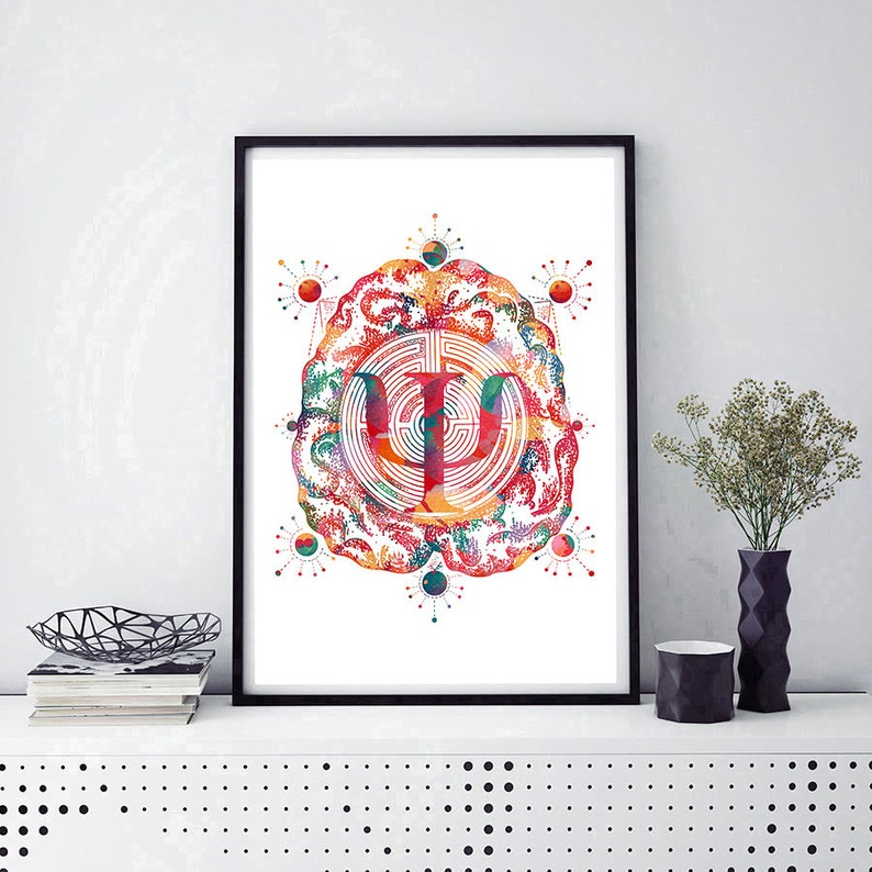 e9404e6de09d5 Brain And Psychology Watercolor Print Psychotherapy Poster Science Art  Psychologist Gift Psi Symbol Poster Psychiatry Art Psychiatrist gift