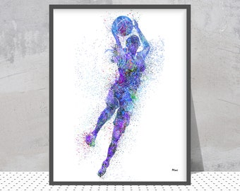 Female Basketball player watercolor print girl playing basketball poster sports art gift baskeball illustration wall decor Print n. 211