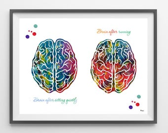 Runner's brain watercolor print Brain after sitting quietly Brain after running quote poster Brain and running sport  print brain functions