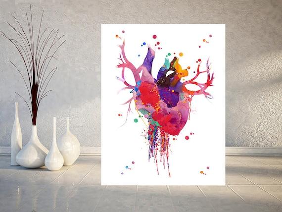 Heart Anatomy Watercolor Print Abstract Medical Art The Human Heart Poster Anatomy Art Illustration Anatomical Heart Print Science Art Gift