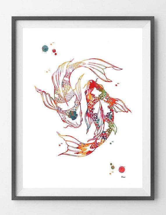 Peces Koi Acuarela Impresión Yin Yang Peces Cartel Chino Etsy