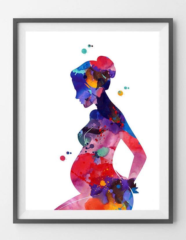 Schwangerschaft Malerei drucken schwangere Frau Aquarell   Etsy
