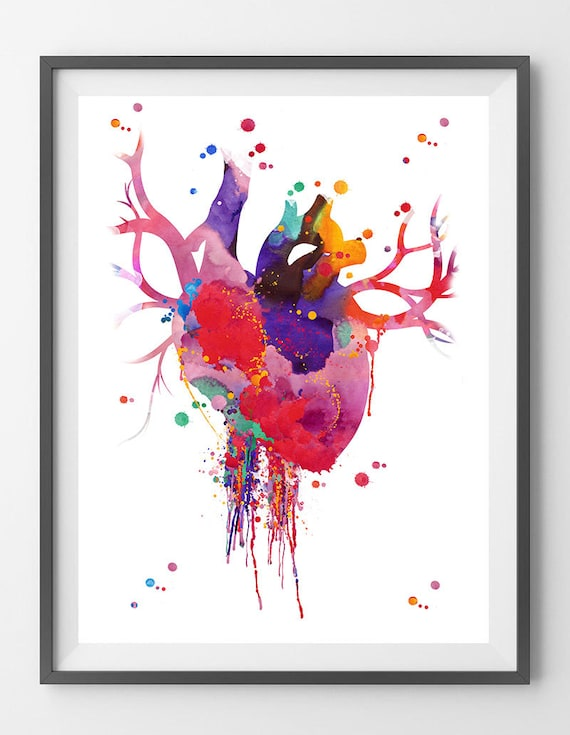 Heart Anatomy Watercolor Print Abstract Medical Art The Human | Etsy