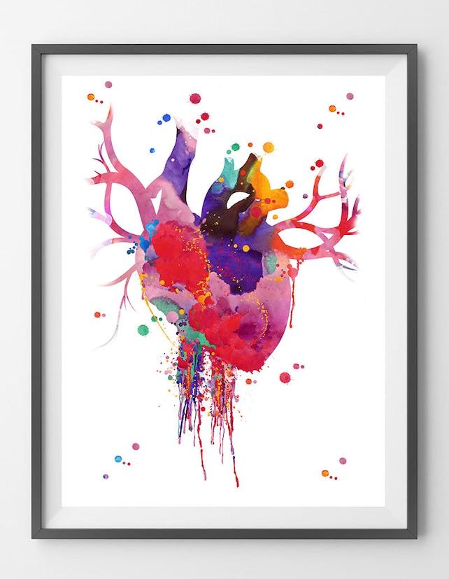 Herz Anatomie Aquarell Druck abstrakte medizinische Kunst der | Etsy