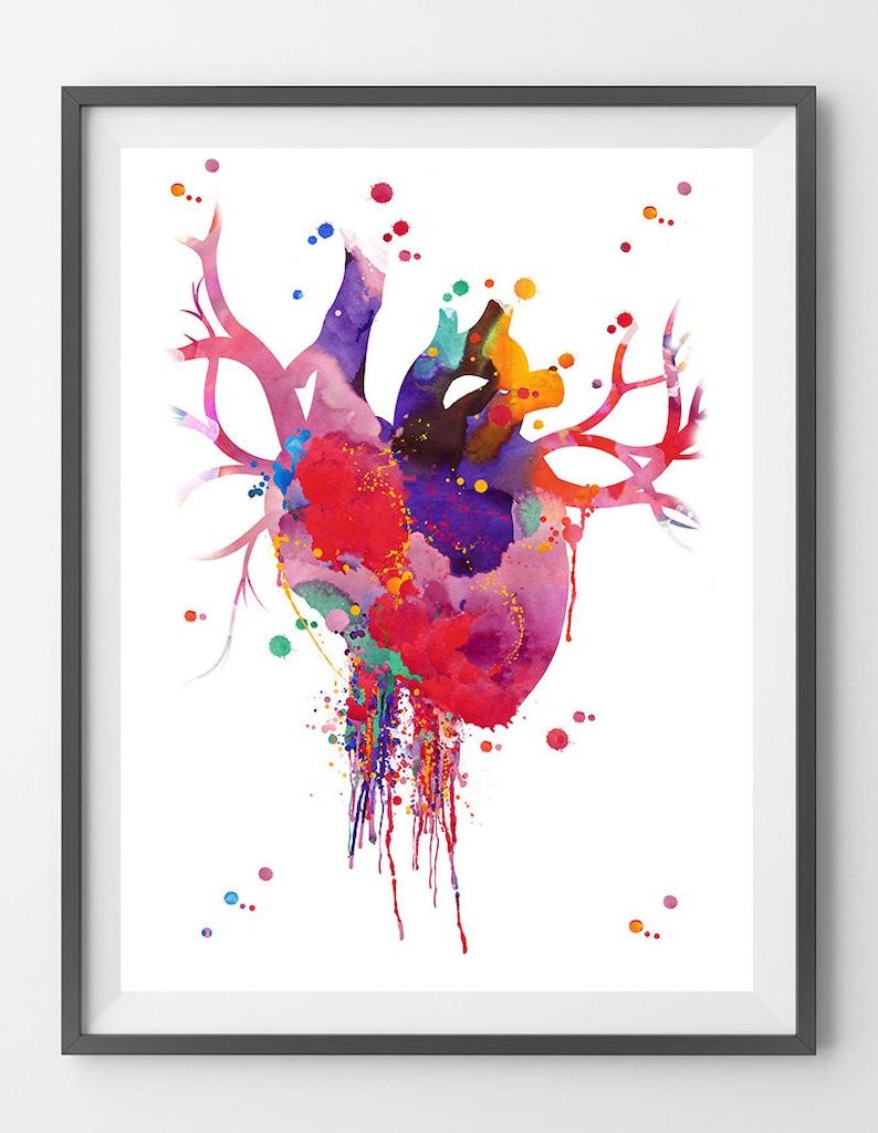 Heart Anatomy Watercolor Print Abstract Medical Art The Human Etsy