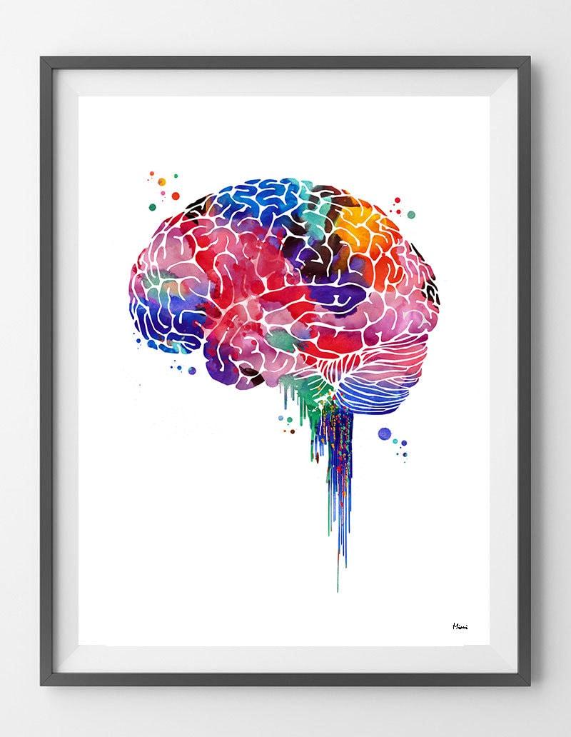 Gehirn Aquarell Druck Anatomie Kunst Gehirn Seitenansicht