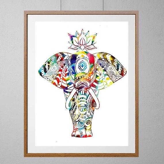 Elephant Art Print Indian Elephant On Parade Watercolor Print Etsy