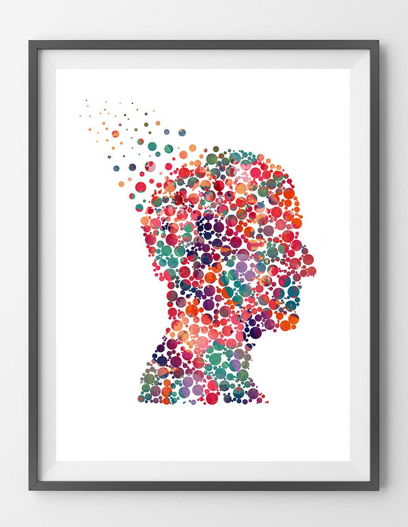 59a44cb32016d Mind And Psychology Watercolor Print Human Psyche Poster Psychotherapy  Print Science Art Print Psychiatry painting Psychiatrist gift