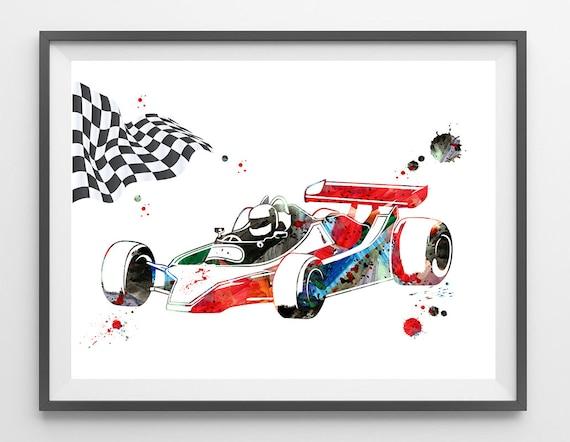 Formula 1 Car Print Race Car F1 Race with Checkered flag | Etsy