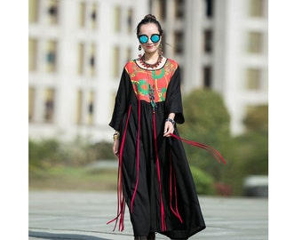 c2e715311d Womens Loose Fitting Printed Floral Patchwork Silk Linen Robe Dress With  Pockets