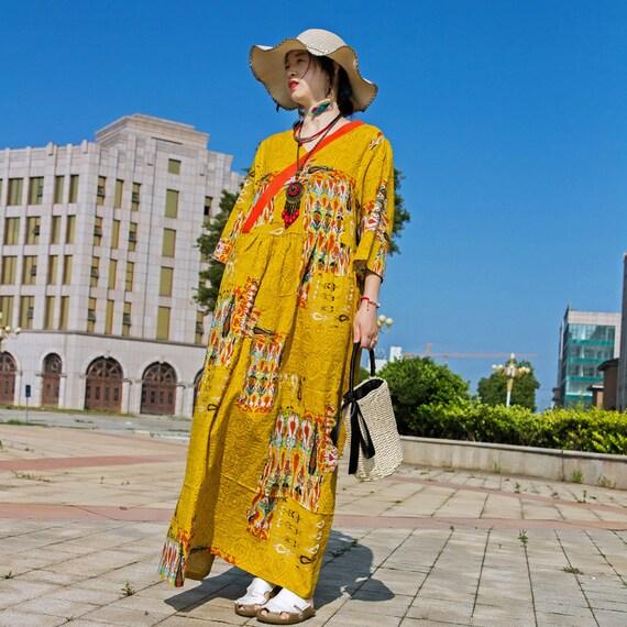 Womens Summer Retro Loose Fitting Oversized Polka Dot V Neck Robe Dress  Travel Dress  Casual Dress  Long Dress  Retro Dress Bust140CM