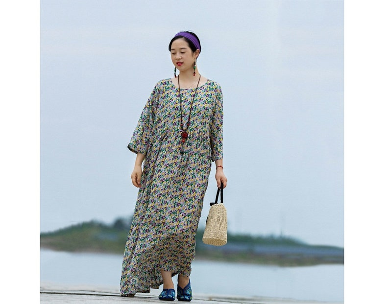 Bust160CM Casual Dress Summer Dress Travel Dress Womens Summer Loose Fitting Printed Floral Cotton Robe Dress With Pockets Long Dress