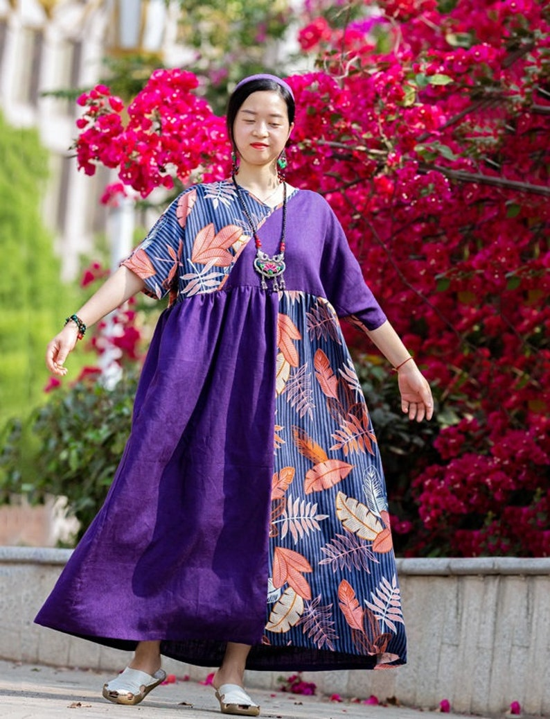 Summer Dress Womens Retro Summer Loose Fitting V Neck Printed Floral Patchwork Contrast Color Cotton Linen Dress With Pockets Casual Dress