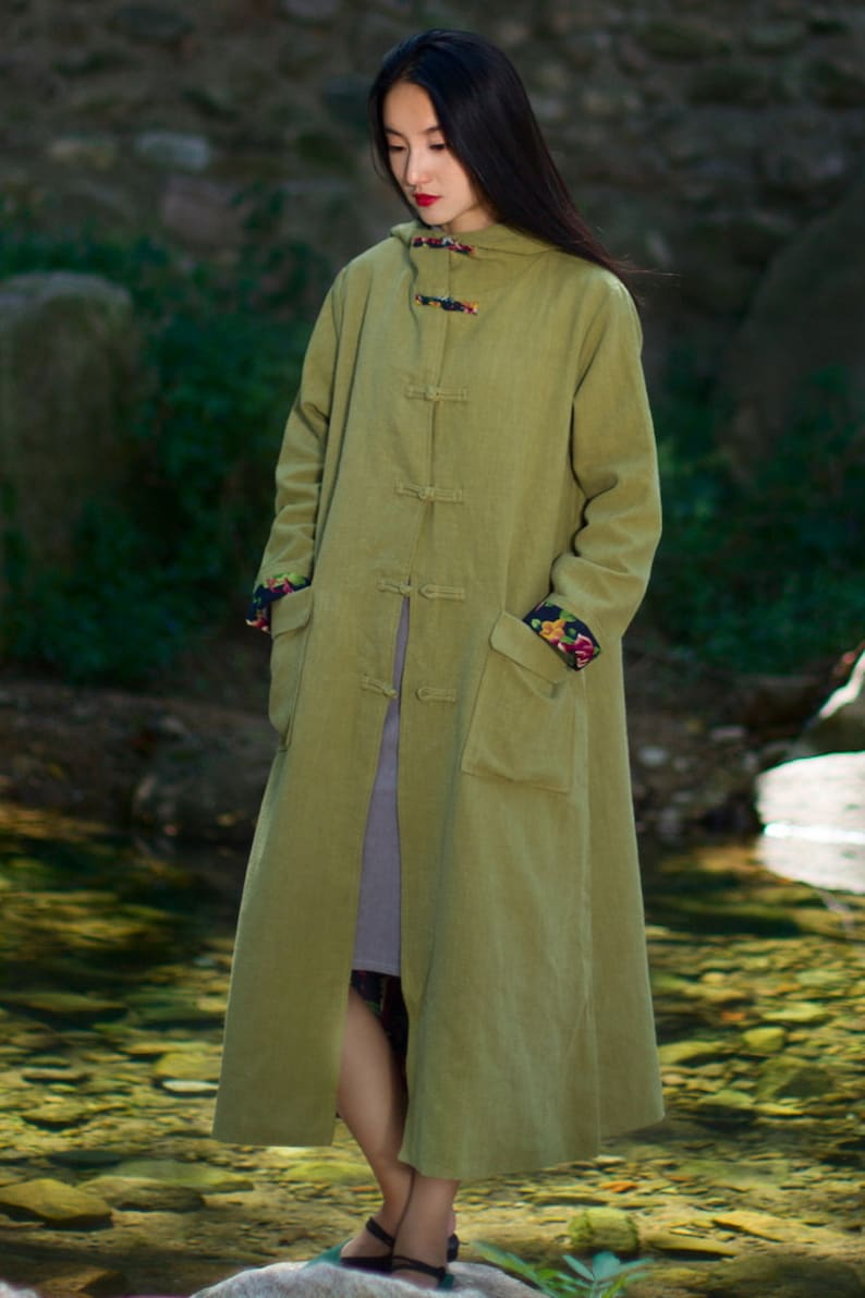 Womans Autumn Winter Cotton Linen Hooded Outerwear Womens Autumn Winter Loose Fitting Retro Cotton Linen Trench Coat With Pockets