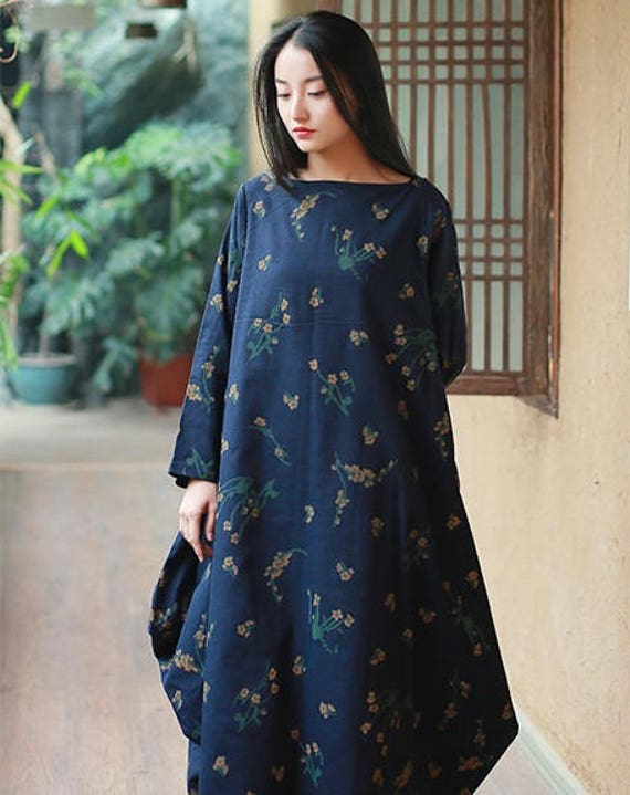 Retro Robe Travel Dress Long Long Dress Floral Pockets Sleeve Womans Women With Womens Loose Dress Fitting For Casual Cotton Linen Printed TnEA6
