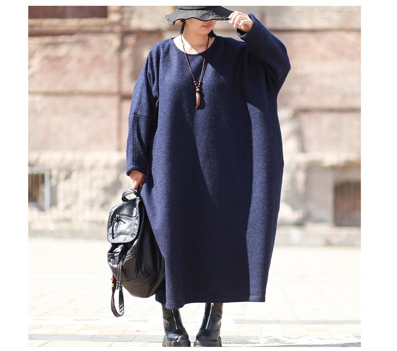 Wool Dress Winter Dress Long Dress Womens Winter Loose Fitting Oversized Thickening Warm Cashmere Tunic Dress With Pockets Casual Dress