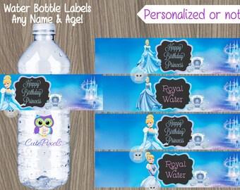 Cinderella Water Bottle Label, Princess Birthday, Disney Princess Party, Princess water bottle label, Bottle label, Cinderella Birthday