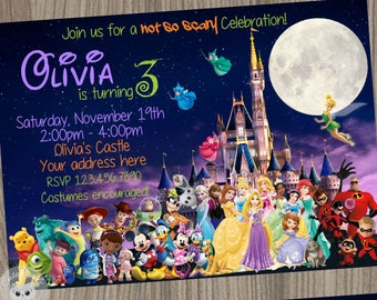 Disney Halloween Invitation Characters Birthday Party