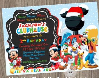 mickey mouse invitation christmas invitation mickey mouse clubhouse invitation christmas party mickey mouse christmas - Mickey Mouse Clubhouse Christmas