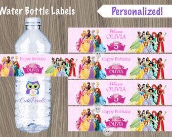 Disney Princess Water Bottle Label, Princess Birthday, Disney Princess Party, Princess water bottle label, Disney Princess, Bottle label